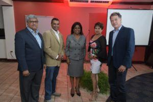 (Left to Right): Komal Samaroo, WIRSPA Chairman; Dr. Rolph Balgobin, Chairman of Angostura Ltd.; Trinidad Minister of Trade, Paula Gopee-Scoon; Genevieve Jodhan, CEO of Angostura Ltd.; Vaughn Renwick, WIRSPA CEO
