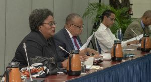 Also present at today's meeting were Attorney General and Minister of Legal Affairs, Dale Marshall; Minister of Foreign Affairs and Foreign Trade, Senator Dr. Jerome Walcott; and Minister of Information, Broadcasting and Public Affairs, Senator Lucille Moe.