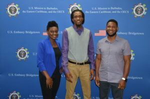 Barbadians Christina Hunte, Corey Jackman and Phillip Kellman before they departed for the Department of State's YLAI program in Detroit, Michigan