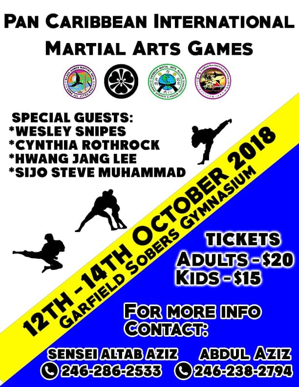 "Ever wanted to meet Wesley Snipes? Or Cynthia Rothrock? How about ""Silver Fox""? They're all celebrity judges for the XIIIth Pan Caribbean Martial Arts Tournament at the Wildey Gymnasium from the 12th to the 14th of October. Soon to come? Word coming up soon on ""Dinner With The Stars,"" and that's another chance to rub shoulders with the man who did the Blade trilogy, Passenger 57, The Expendables, US Marshals and Demolition Man!"