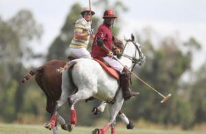 WIP's Kimoi Moi (right) and Afrika Aviation player during the 6 goals International Tournament at Nairobi Polo Club on Friday, Sept 14, 2018 (Photo: Jonah Onyango, Standard)