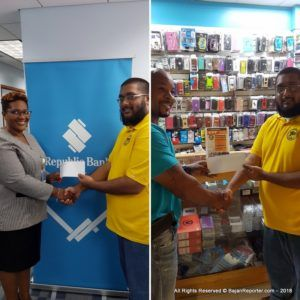 Republic Bank (Barbados) was represented by Keisha Belle from the Marketing dept, who expressed delight in being a part of the historical moment - In addition, Cell Hut also contributed.