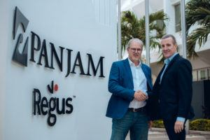 (L to R) Stephen Facey, Chairman, PanJam Investment Limited (PanJam) confirms deal with Mark Linehan, Managing Director, Regus Franchise Partner, Caribbean