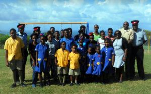 The Principal of the St Elizabeth Primary School, Members of the Royal Barbados Police Force, Participants of the Princess Trust International TEAM Programme, and Students of the St. Elizabeth Primary School, in the newly refurbished play park.