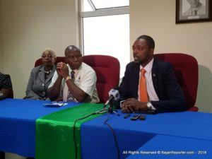 Colin Jordan, Minister of that portfolio addressed a number of media this morning at the Labour Department in Warrens on the 2nd Floor at the Office Complex near Price Smart.