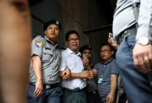 Reuters journalist Wa Lone after his verdict announcement in Yangon, Myanmar, September 3, 2018. REUTERS (Ann Wang)
