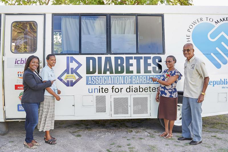 L-R Andrea Gooding, Stacia Brewster, Office Administrator, DAB, Sonia Leuwaisee, Activities Coordinator and Mr. Keith Wilson M.V.O., Trustee DAB