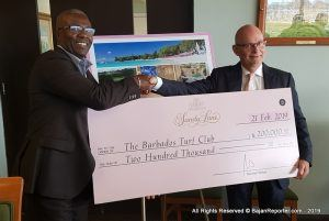 Randall Wilkie, their General Manager presented a sponsorship cheque of 200-Thousand dollars to BTC Director David Murray at the Incitatus Members Lounge of the Barbados Turf Club recently.
