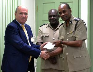To this end, Chairman of the Tourism Development Corporation, Mr. Martin Ince, presented a cheque to the Commissioner of Police Mr. Tyrone Griffith, to assist in the purchasing and installation of CCTV cameras in the North of the island.