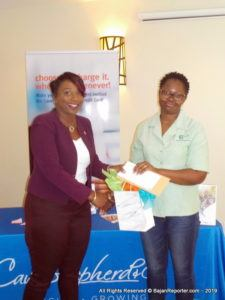 She was at Courtyard Marriott earlier today presenting the prize winners for the Cave Shepherd Credit Card's 2018 Trinidad Carnival Prize Ceremony, when 2 Lucky Cardholders and their guests were presented with an all-expenses paid trip to Trinidad Carnival with accommodation and passes to key Carnival events.