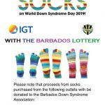 Barbados Lottery Rock your Socks for World Down Syndrome Day 2019