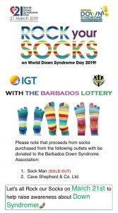 "Rock your Socks with The Barbados Lottery for World Down Syndrome Day, March 21, 2019 ""LEAVE NO ONE BEHIND!"" #LotsOfSocks #WorldDownSyndromeDay #WDSD19 #leavenoonebehind @barbadosdownsyndromeassociation @worlddownsyndromeday"