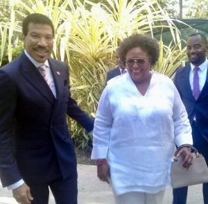 The performer met Barbados' Prime Minister <strong>Mia Amor Mottley</strong> in addition to the Prince of Wales and Duchess of Cornwall, at the West Coast resort yesterday, their presence was part of a Caribbean tour of a number of Commonwealth nations.
