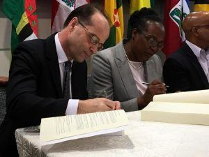 The UK Government and CARIFORUM signed a Trade Continuity Agreement with Ministers and representatives from Barbados, Belize, The Commonwealth of Dominica, Grenada, The Republic of Guyana, Jamaica, Saint Christopher and Nevis, Saint Lucia; and Saint Vincent and the Grenadines.