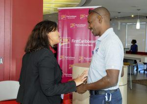 Associate Director of Digital Channels, Lee-Anne O'Selmo speaking with customer Dale Hoyte