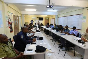 Military, police and fire officers from across the CDEMA Participating States engage in discussion at the 2019/2020 CDRU Training Workshop in St. Vincent and the Grenadines