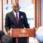 President of the Caribbean Association of Local Government Authorities Anthony Roberts delivering the Feature Address at the GCoM Launch on June 12th 2019