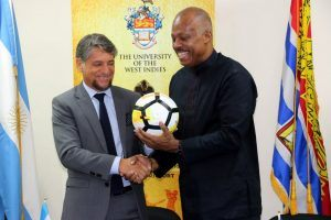 "In his remarks, an elated Beckles highlighted the importance and potential of the agreement, described as ""<em>a step forward and a unique opportunity for the Caribbean to take advantage of the invaluable experience of Argentine football</em>"". Beckles reaffirmed UWI´s continuous support to Sports as an education and formative vehicle for youth development."