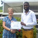 British High Commissioner Janet Douglas and Barbados Chevening Scholar Deshon Griffith