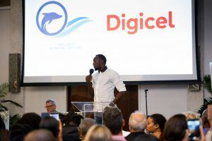 2 Usain Bolt Digicels Chief Speed Officer presents at the launch of the TCIFF in May.