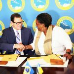 CDB President l. and PM of Barbados at the signing ceremony for the loan 23 Dec 19 Photo CDB
