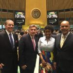 (L-R) Rev. Dr. William Shillady, CEO, City Society, Rabbi Joe Potasnik, Executive Vice President of New York Board of Rabbis, Don Victor Mooney, President of H.R. 1242 Resilience Project, and Second Secretary, Isabel Avomo Sima at Equatorial Guinea Permanent Mission to the United Nations in New York stand in solidarity at UN Holocaust Remembrance Program.