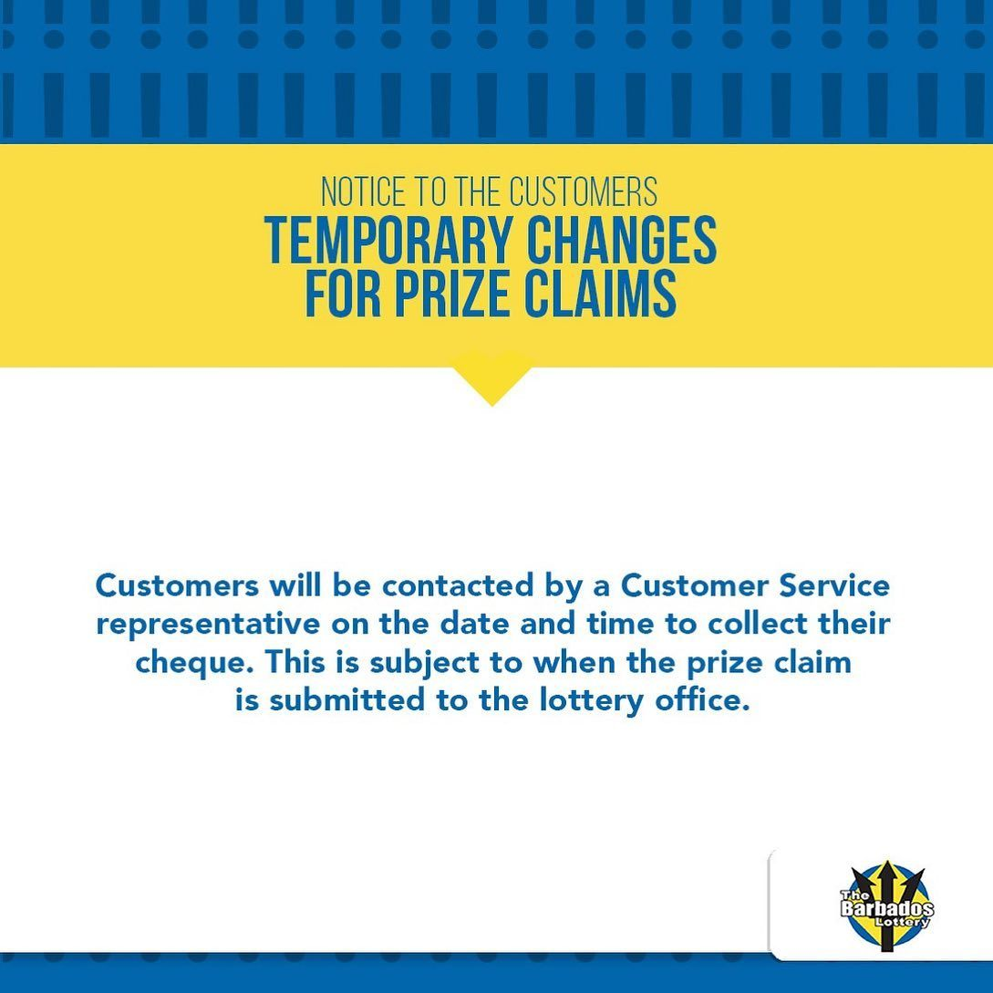 Please read this information with attention. Due to the situation we are currently facing, we have been forced to make some changes. But don't worry, they are temporary, so make sure you stay safe! Thank you for understanding #MyBarbadosLottery