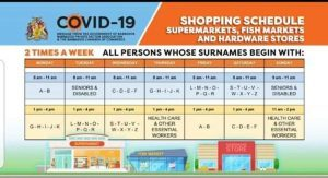 Barbadians will now have two days weekly to conduct business based on their surnames from April 15. There is a shopping schedule for supermarkets, fish markets, hardware stores and banks. Customers must carry ID cards, wear masks, and have a shopping list. They must practice social distancing.