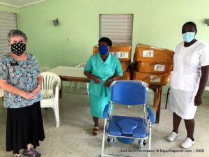 The commode chairs were handed over to the rural geriatric hospital, where 50 seniors are in full-time care, and the manager, <b>Marcia Hoyte</b>, expressed extreme gratitude to the Latter-day Saint Charities for all the donations received.