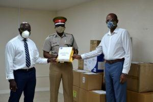 Executive Director of the CARICOM Implementation Agency for Crime and Security (CARICOM IMPACS),<strong> Lt. Col. Michael Jones</strong> and Executive Director of the Regional Security System (RSS),<strong> Captain Errington Shurland</strong>, handed over various basic sanitation supplies to Superintendent of the Barbados Prison Service, Lt. Col. John Nurse, during a brief presentation at the RSS Air Wing.