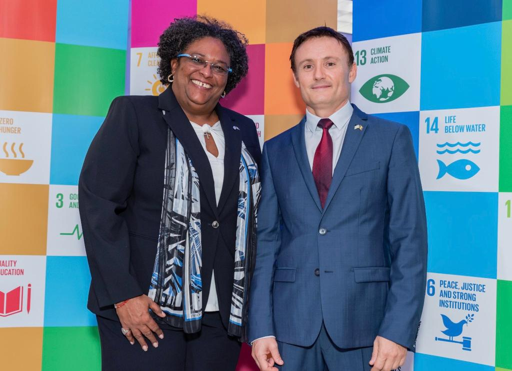 (OCTOBER 2019) Mia Amor Mottley is the Prime Minister of Barbados and Chair of CARICOM Didier Trebucq is the United Nations Resident Coordinator for Barbados and the Eastern Caribbean