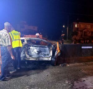 Involved was a single motorcar registration MC1470 a Kia Cerato owned and driven by 25 year old <strong>Anthony Brathwaite</strong> of Mills Apartments, Piton Road, St. James. He was the sole occupant of the vehicle, and died at the spot.