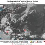 This wave is expected to move over the far eastern tropical Atlantic on Friday, and some slow development is possible through the weekend while it moves west-northwestward at 15 to 20 mph across the eastern tropical Atlantic.
