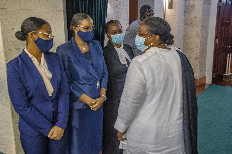 Prime Minister Mottley and her Cabinet colleagues paid their respects to former Prime Minister Arthur, filing past his casket, which laid in State at the House of Assembly - Parliament Building