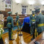 Barbados Defence Force stand vigil over Arthur's casket