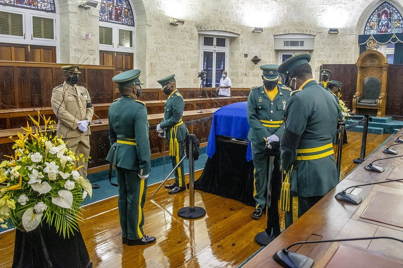 Barbados Defence Force stand vigil over Arthur's casket