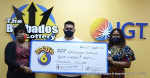 "When asked why he chose a quick pick, Mr. Persaud quietly stated ""<em>Even though I've been playing with The Barbados Lottery for close to nine years, I'm still not very good at choosing numbers, so I preferred to choose a quick pick</em>."" He also stated that he likes to play Super Lotto, Double Draw and scratch games from which he has had a few small wins. ""<em>But</em> <strong>Mega 6</strong> <em>is my favourite and I'm excited about the win</em>,"" he replied."