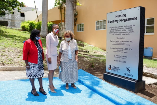 L-R: PROFESSOR VELMA NEWTON - CHAIRPERSON BCC, EDUCATION MINISTER SANTIA BRADSHAW & DR JEANNINE COMMA -DIRECTOR SAGICOR LIFE INC