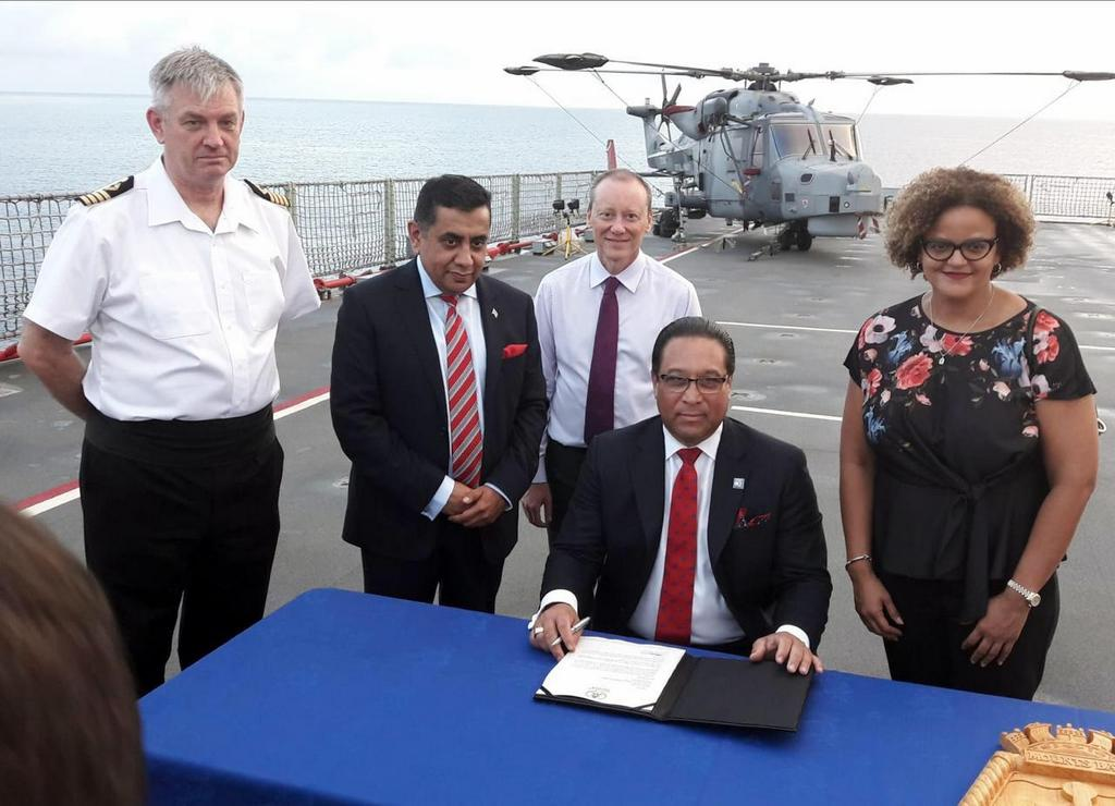 Cayman Islands Premier, Alden McLaughlin signed a declaration of intent to join CDEMA on RFA Mounts Bay. Also present for the signing was U.K. Overseas Territories Minister Lord Ahmad, His Excellency the Governor of the Cayman Islands, Mr. Martyn Roper and Minister for Financial Services and Home Affairs, Tara Rivers.