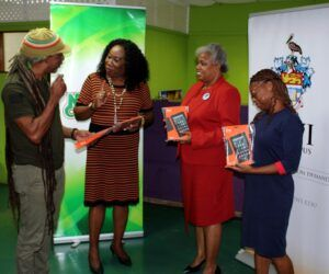 """L-R Mr Adisa """"AJA"""" Andwele, Mrs Carol Roberts-Reifer, CEO, National Culture Foundation, Mrs Sandra Griffith-Carrington, Open Campus Officer of Alumni Relations and Miss Nathalie Wiltshire, Alumni Assistant."""
