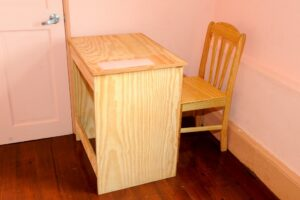 One of the desk and chair sets produced by the Woodwork class at the Challenor Creative Arts and Training Centre