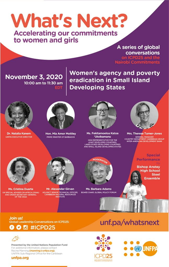 This session is organized by staff from the SROC and will feature an engaging panel of development leaders including The Hon. Mia Mottley, Prime Minister of Barbados; USG Cristina Duarte, UN Special Adviser on Africa; USG 'Utoikamanu, High Representative for the Least Developed Countries, Landlocked Developing Countries and Small Island Developing States; Mrs. Therese Turner-Jones, General Manager, Country Department Caribbean Group, Inter-American Development Bank; and Mr. Alexander Girvan, Independent Environmental Economist.