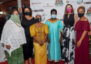 L-R: Grenada Film Commissioner Ellen Spielman, former Tourism Minister Alexandra Otway, Advisor to the Minister of Tourism Mrs. Brenda Hood, Minister for Tourism, Civil Aviation, Climate Resilience and the Environment Hon. Dr. Clarice Modeste-Curwen, CEO of the Grenada Tourism Authority Patricia Maher and Member of the Organizing Committee Shireen Wilkinson.