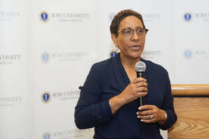"RUSM Associate Dean of Medical Sciences <strong>Dr. Rhona McIntyre</strong>, MBBS, FAAP, FRCP(C), said, ""<em>As we face this unprecedented time, RUSM is taking this opportunity to give back to our community through more than $8,500 in donations to charitable organizations,"" she continued, ""We are so thankful to be part of this community and are happy to support these worthy causes</em>."""