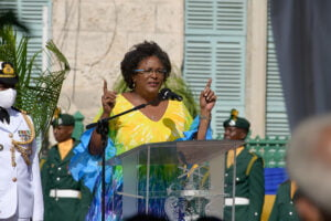(Text Courtesy: Nation News Online) Prime Minister Mia Amor Mottley during her address on Independence Day 2020. (Image Courtesy: PMO Barbados, C. Jong)