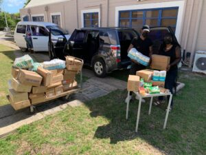A project led by The UWI Youth Development Programme (<strong>YDP</strong>) in the Office of the Vice Chancellor, joined by Goddard's Enterprises Limited (<strong>GEL</strong>) and the Caribbean Anti Human Trafficking Project (<strong>CAHT</strong>), provides some 100 persons with care packages over the course of the last week with a shipment of goods handed off to CAHT recently.