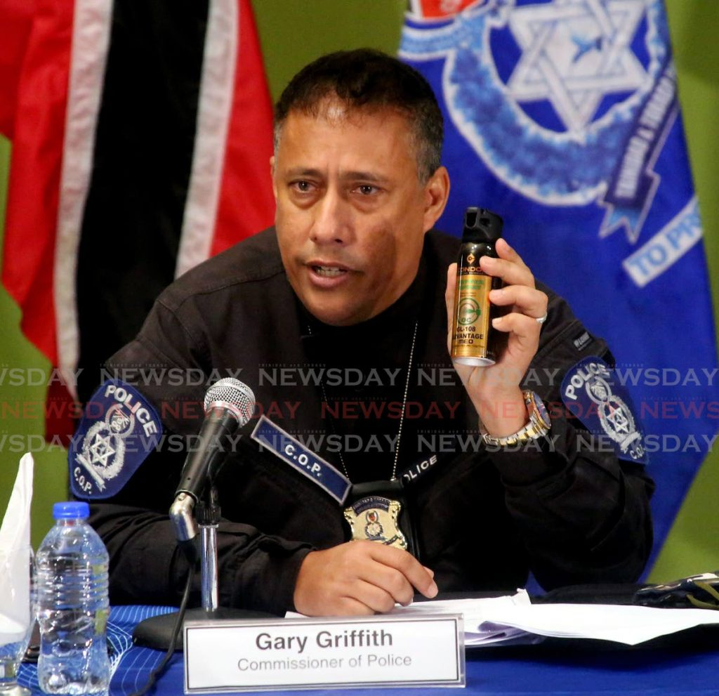 Courtesy Newsday.Co.TT: December 2020 - Police Commissioner Gary Griffith holding a can of pepper spray during the police press briefing at the Police Administration Building, Port of Spain (SUREASH CHOLAI)