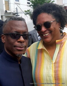 Mia Amor Mottley (R), Prime Minister of Barbados and St. Martin author Lasana Sekou are in the current edition of BIM literary journal. (c) HNP file photo.