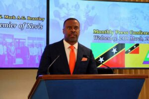 Mark Brantley, Premier of Nevis at his monthly press conference in Cabinet Room at Pinney's Estate