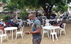 """According to the post, on Good Friday, police ordered the closure of a """"<em>cookshop</em>"""" that is operated by <strong>Ross Ashton</strong> on Deacons Road, but that Prime Minister Mia Amor Mottley intervened by calling Deputy Commissioner of Police Oral Williams, who then instructed the officers to leave the operators of the establishment alone."""